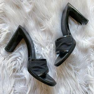 Vintage Gucci Black Monogram Slide Sandal Heels 8